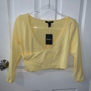 Yellow cropped wrap shirt